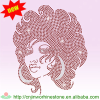 Afro Girl Rhinestone Transfer Wholesale,Iron on T- shirt sticker afro girl (64)