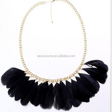 wholesale popular simple design black Nylon thread feather necklace jewelry in bulk
