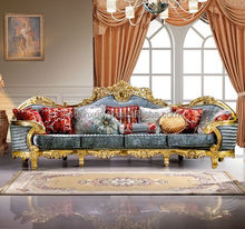 French style wooden carved fabric gold color luxury sofa set