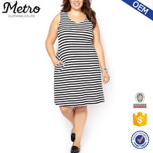 Newest Design Striped Dress fat size women party dress with high quality