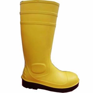 Yellow-black anti-impact PVC safety shoes