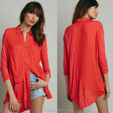 High quality long sleeve ladies western blouse design, orange button shirt