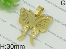 wholesale agate pendants Pretty Murano Butterfly-shaped Stainless Steel Pendant for Girls