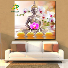 Buddha Zen Picture With LED Lights Canvas Painting On The Wall Fabric Painting Decoration