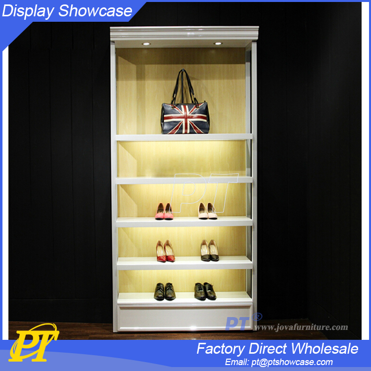 Wooden display stands for bags and shoes store display fixtures
