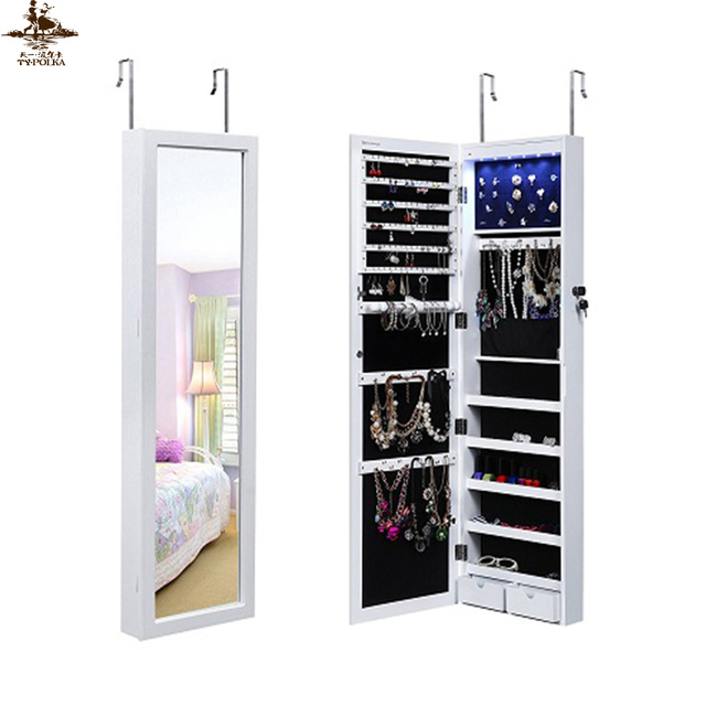 China supplier hot sale cheval mirror jewelry cabinet with hooks