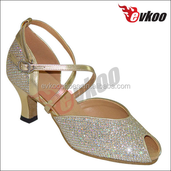 New Arrival Latest Design Salsa Shoes Women Latin Dance Shoes Gold And Silver Elegance Shoes