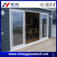 Flat open security tempered glass aluminuium alloy frame industrial sliding door