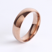 rose gold Smooth unisex Stainless Steel rings