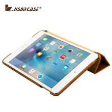 Jisoncase Hot Selling genuine Leather Case with Stand function for iPad Mini 4