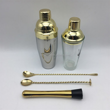 3PCS 750ml Stainless Steel Glossy Gold Plated Cocktail Shaker/Mixer Gift Set+Mixing Bar Spoon+Mint Mojito Muddler+OEM Logo