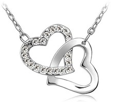 Wholesale double Heart <strong>Necklace</strong> Free shipping