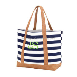 Popular beach bag stripe beach bags canvas tote bags