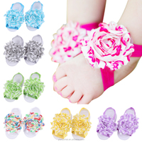 Beautiful chiffon sunflower baby sandals baby elastic barefoot sandals wholesale