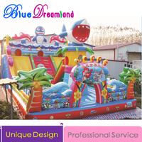 Giant Shark PVC material Outdoor Inflatable slide jumping trampoline inflatable castle bouncer
