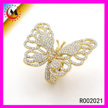 2016 Animal Products 24k Pure Gold Plated Cz Crystal Butterfly Design Ring