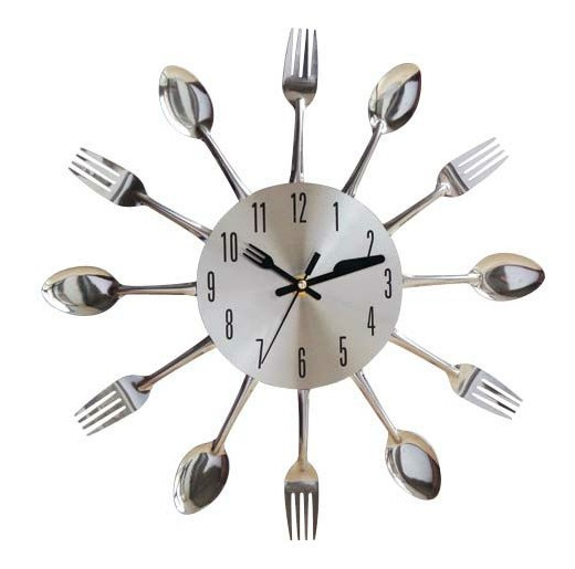 Home Decorative Kitchen Clock Fork And Spoon Wall Clock For Promotion