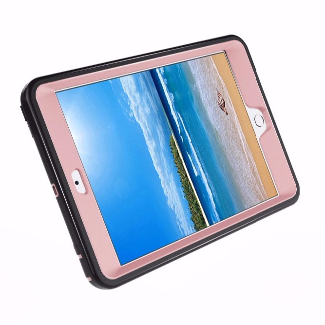 For iPad mini 1 2 3 rubber case convertible robot stand silicone cover