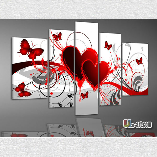 Modern pieces wall art sets oil paintings of heart 5 panels