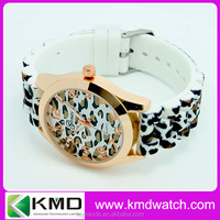 2015 custom brand japan movt geneva watches silicone strap leopard watch