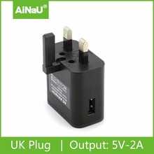 Foldable UK 3 pin usb wall charger 5V 2A adapter, AiNaU