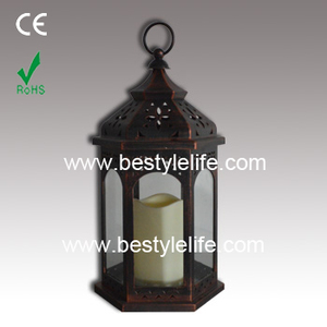 Handle Metal Garden Electric Candle Lantern