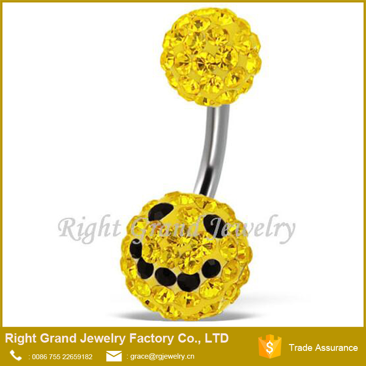 Navel Ring 2015 Gothic Belly Rings Smile Logo Shamballa Ferido Mixed Belly Piercing