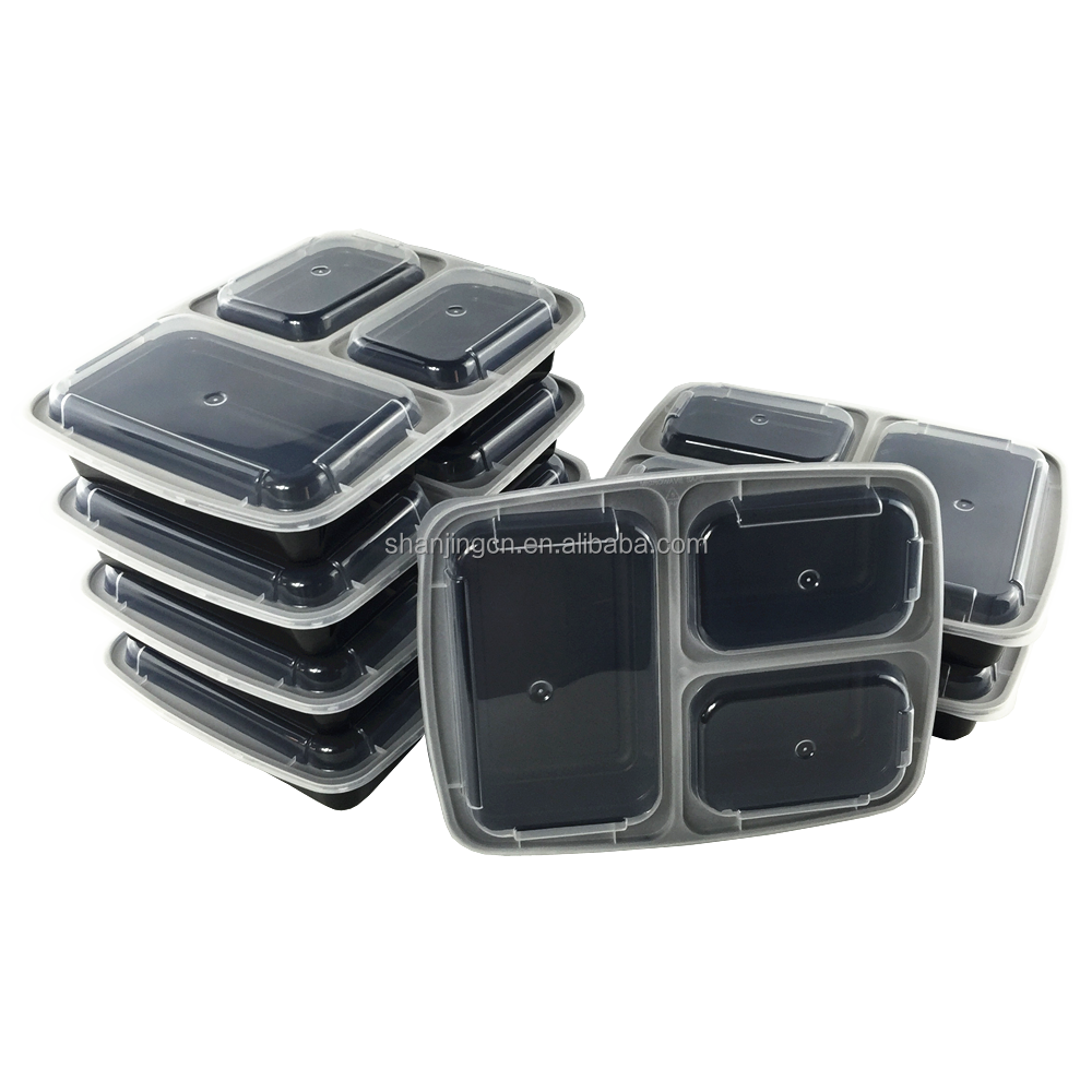 High quality bento lunch box containers, plastic Stackable 3 compartments Microwave safe 7/10-pack Meal Prep Food Container