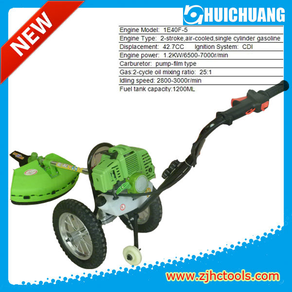 2013 new hand push grass cutter 43cc brush cutter with wheels