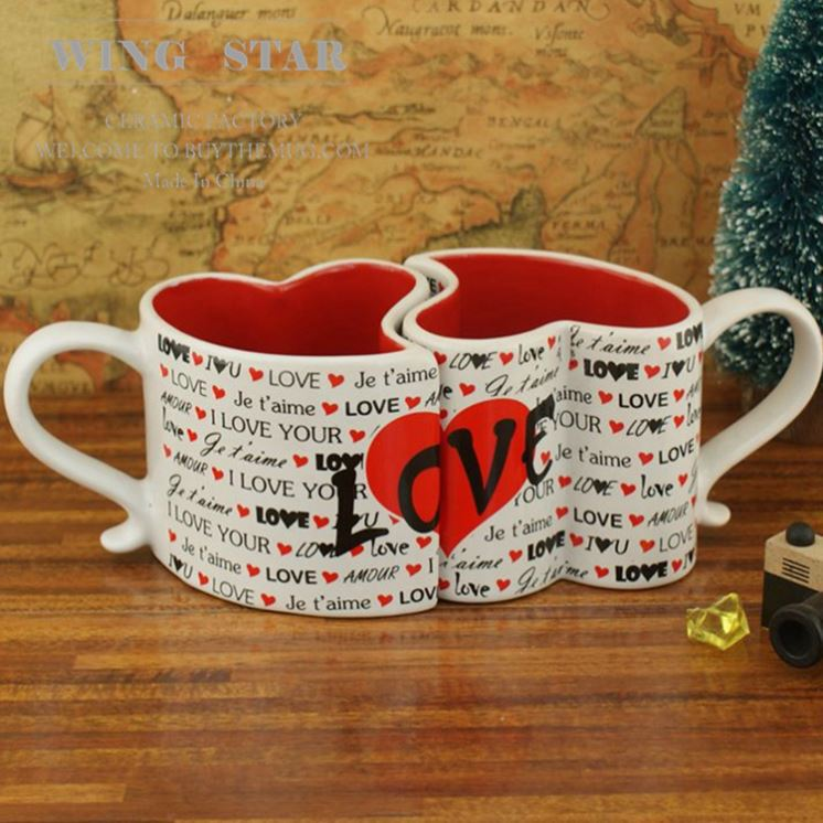 Provide Heart Shape Ceramic Couple Mug