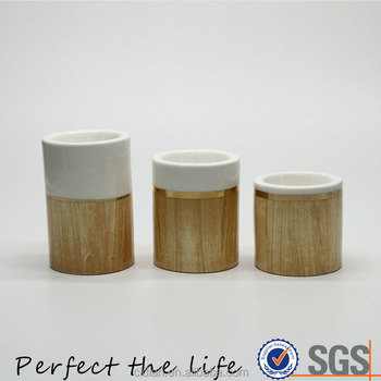 Ceramic Round Shaped Candlestick Tealight Porcelain Candle Holder with Wooden Design