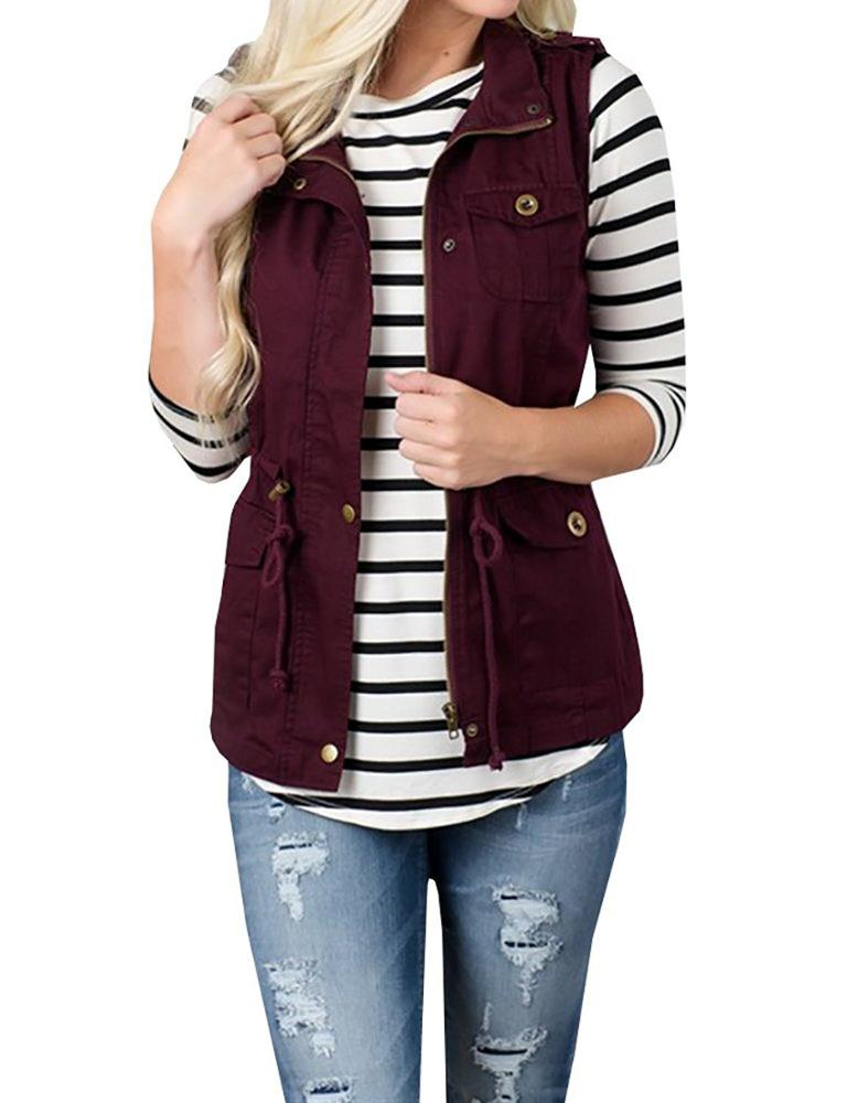 Ecowalson Women Sleeveless Lightweight Vest Jacket Plain Color Military Jacket Vest with Drawstring & Pockets