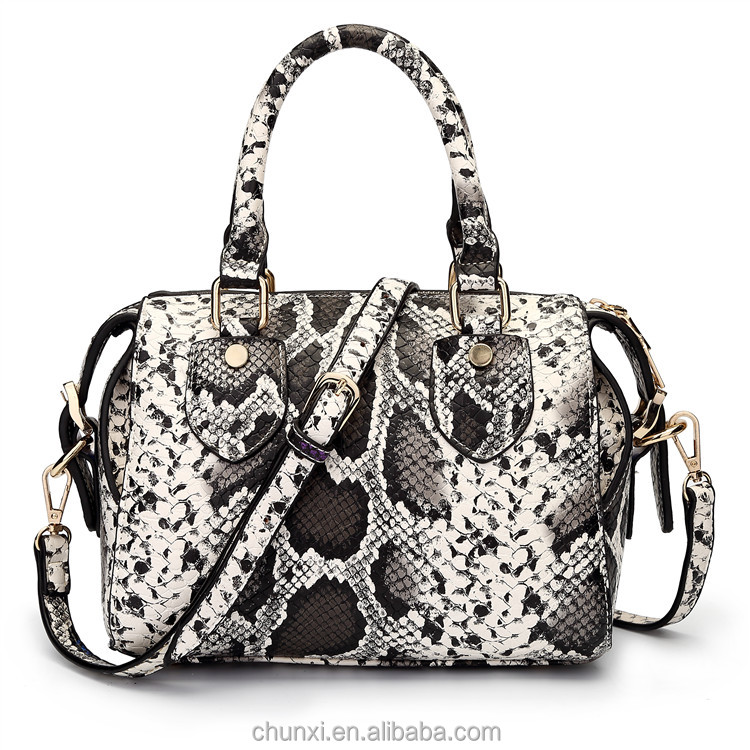 Big factory new design fashion ladies snake leather replica handbags guangzhou
