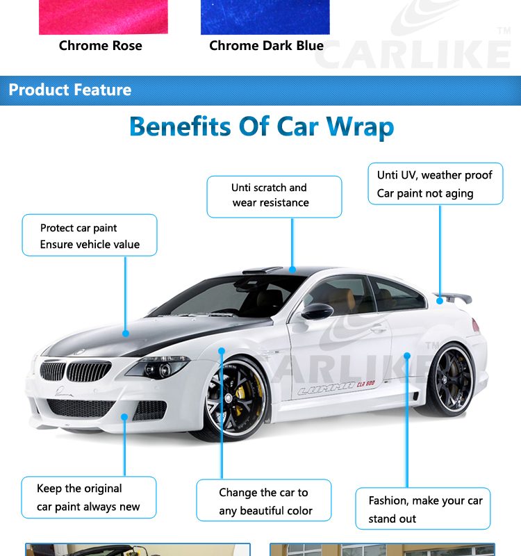 CARLIKE Chrome Mirror Vehicle Wrapping Stickers Foil Glossy Car Body Wrap Vinyl Film