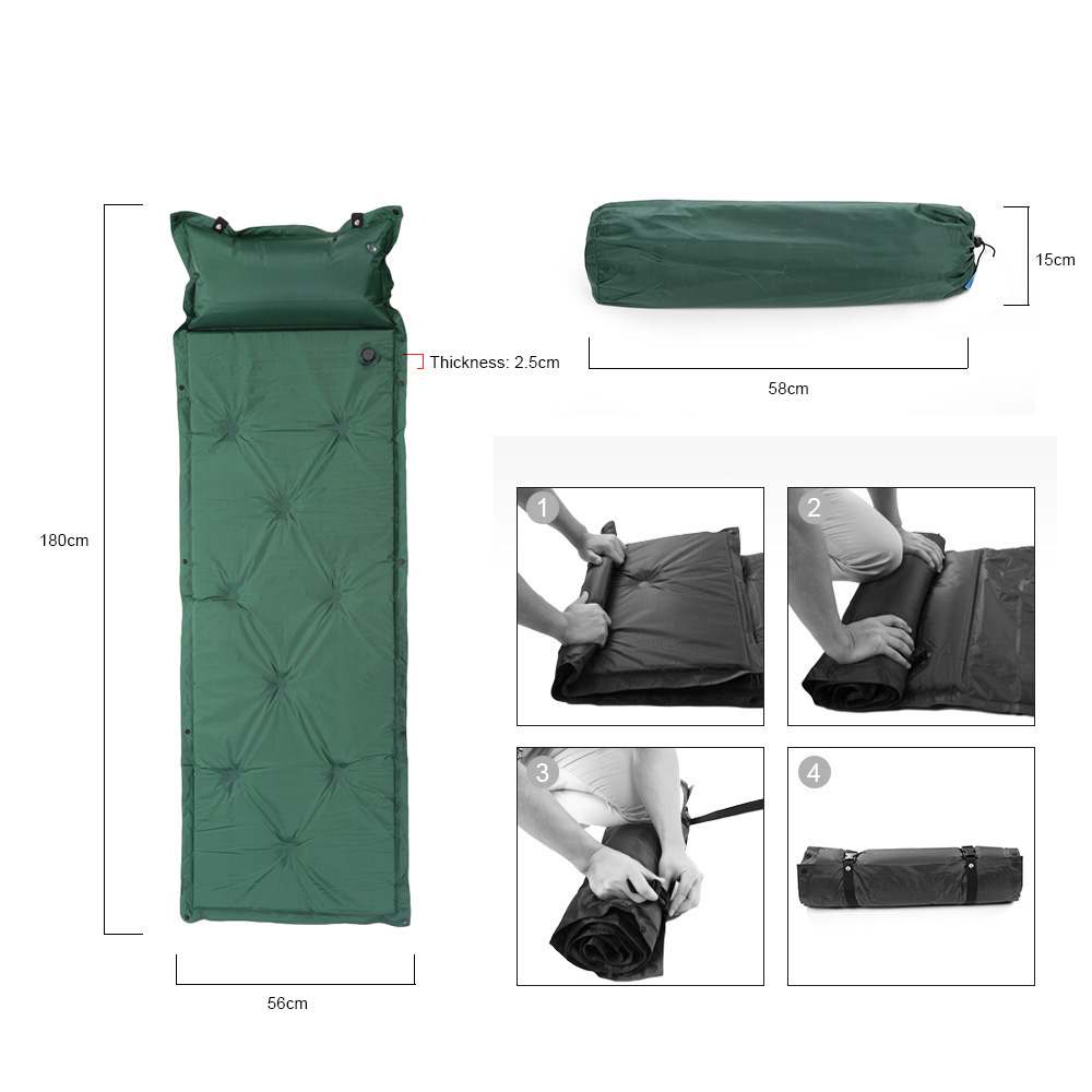 190T Polyester+PVC High quality waterproof Ultralight Hiking Camp Mat Pad Inflatable Sleeping Compact Sleeping Pad