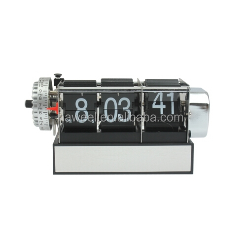 Haweel Skeleton Metal Digital Auto Flip 3 Pages Clock Desktop with Decorative Clock Alarm Clock- Internal Gear Operated