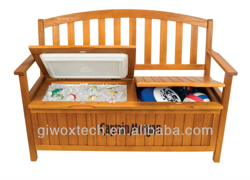Wooden chair cooler box, outdoor cooler bench