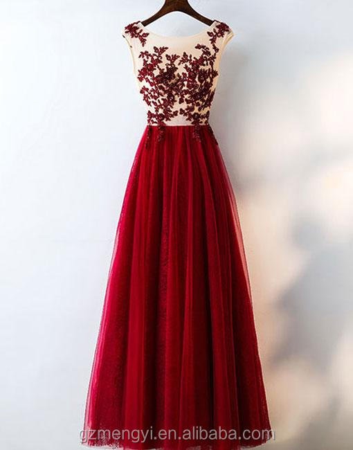 Gorgeous Hot Red Round Neck Lace Applique Chiffon Drape Full Length Evening Party Dress For Women