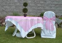 Satin chair cover with organza sash
