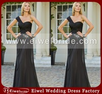 AZ-10 Cheap A-line Sweetheart One-shoulder Maxi Black Evening Dress Vestido de noite preto