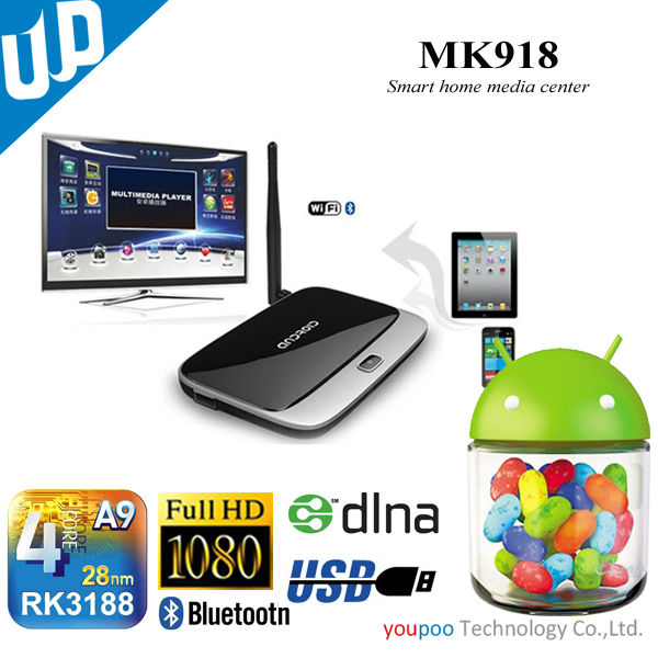 RK3188 Quad Core Android 4.2 OS smart network TV Box with bluetooth and wifi support