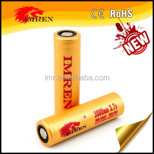 2016 Newest IMREN 18650 3000mah 45amp rechargeable 18650 3.7v battery