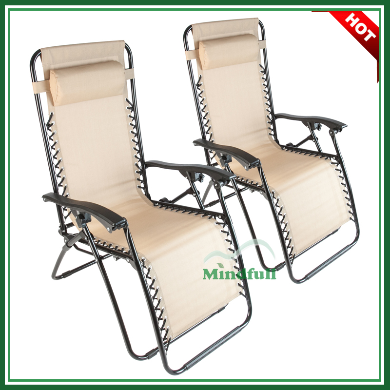 Beige Folding Zero Gravity Lounge Chair Multi-Position Reclining Chair