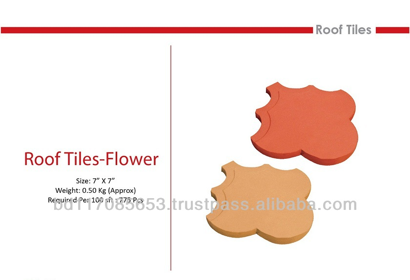 Roof Tiles - Flower/ Clay/ natural color/ Eco friendly/ Heat Insulation/ Water Resistance/ Cooler Temperature