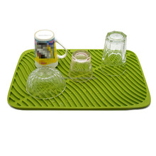 Collapsible soft dish rack with drainer mat bottle drying mat silicone sink drain mat