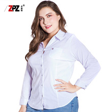 Plus size women clothing Long-sleeved white blouses wholesale OEM custom clothing manufacturers