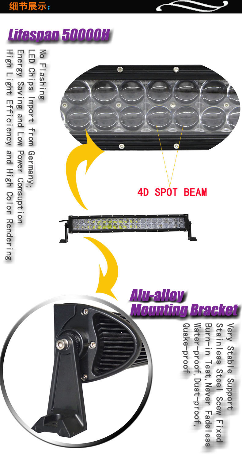 500W led light bar 5W o sram curved auto light for peugeot