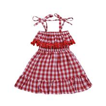 <strong>Girl's</strong> <strong>dress</strong> 2019 new euro-american style summer lace red plaid suspender princess <strong>dress</strong> children's wear