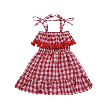 Girl's dress 2019 new euro-american style summer lace red plaid suspender princess dress children's wear