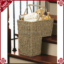 S&D household magazine basket Wholesale Seagrass basket stair storage basket